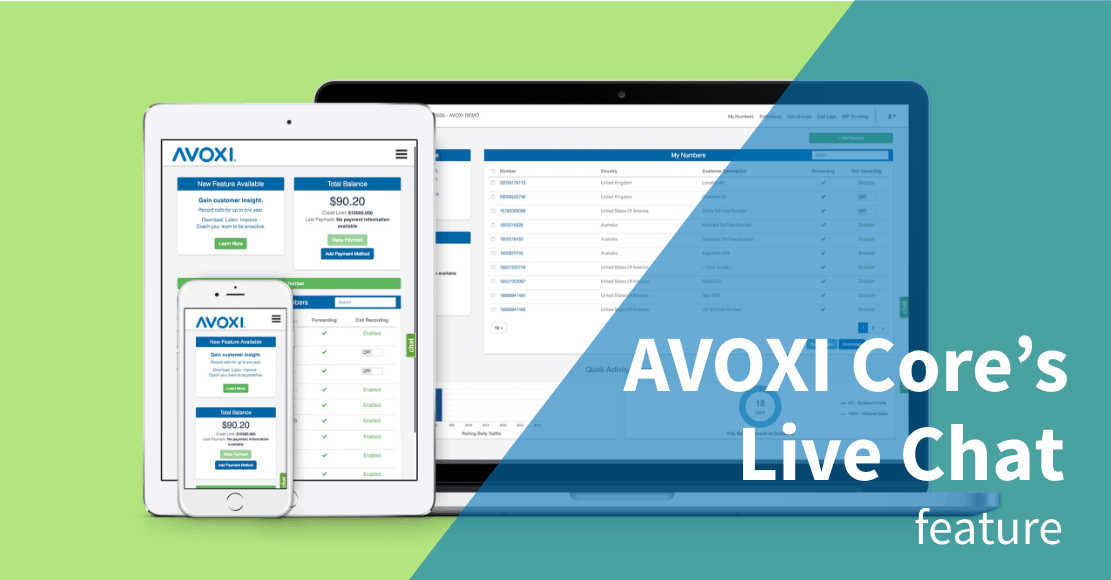 AVOXI Core Online Portal Now Offers Live Chat with Customer Support Banner